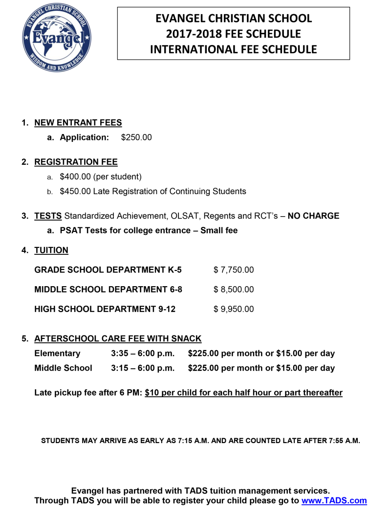 EVANGEL CHRISTIAN SCHOOL 2009-2010 FEE SCHEDULE